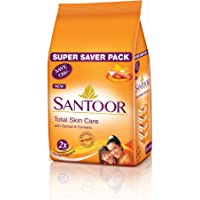 Santoor Sandal & Turmeric Soap for Total Skin Care, 100g (Pack of 4, Super Saver Pack)