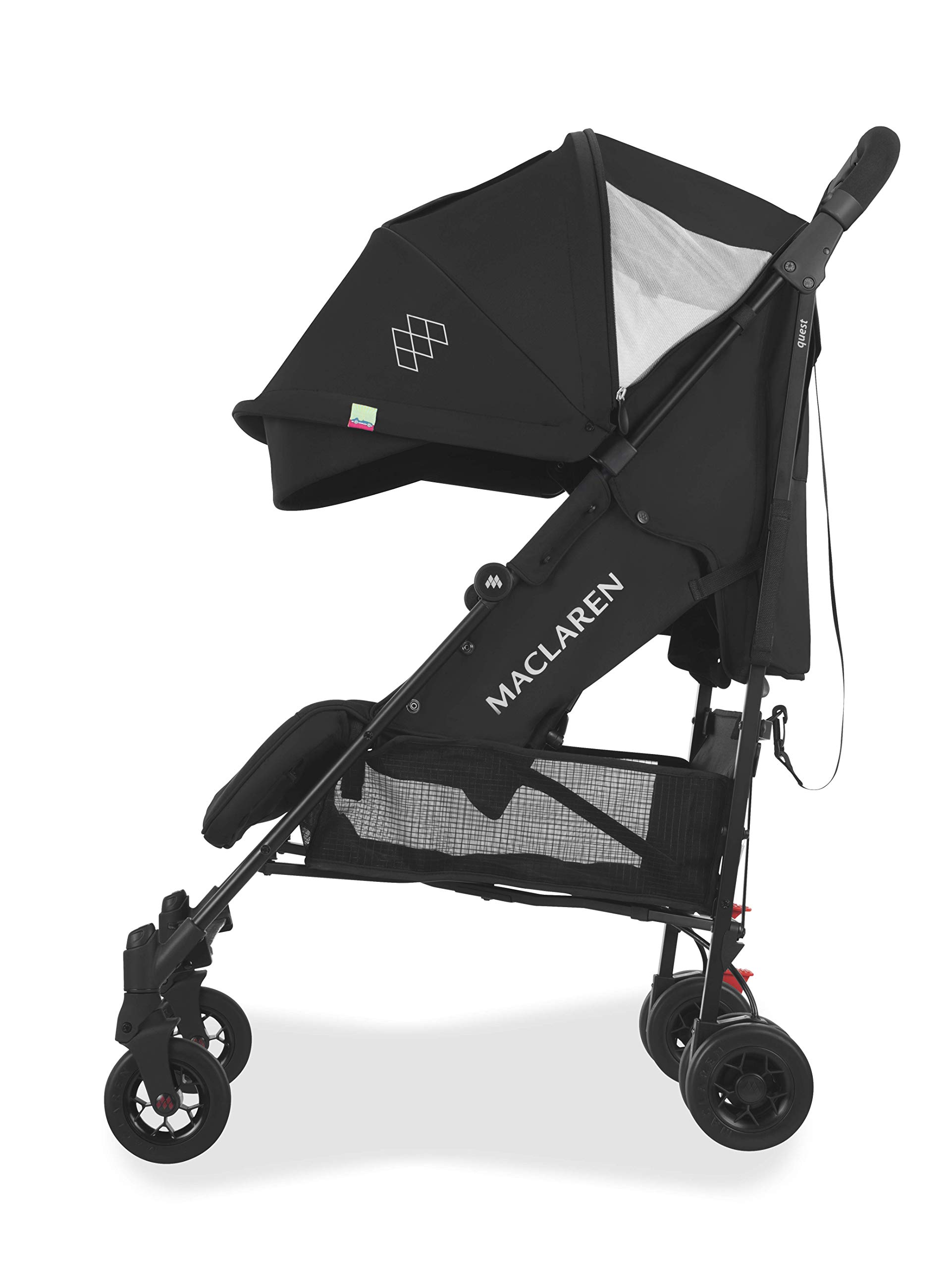 Maclaren Quest Arc Stroller- Ideal for Newborns up to 25kg with extendable UPF 50+/Waterproof Hood, Multi-Position seat and 4-Wheel Suspension. Maclaren Carrycot Compatible. Accessories in The Box Maclaren Lightweight and compact. ideal for newborns and children up to 25kg. you can do it all with one-hand- open, close, push and adjust the seat, footrest and front safety lock Comfy and perfect for travel. the quest arc's padded seat reclines into 4 positions and converts into a new-born safety system. coupled with ultra light flat-free eva tires and all wheel suspension Smart product for active parents. compatible with the maclaren carrycot. all maclaren strollers have waterproof/ upf 50+ hoods to protect from the elements and machine washable seats to keep tidy 3