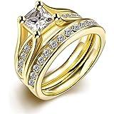 Set de anillos ZUMUii Butterme de titanio 316l dorado con solitario corte princesa de circonio, anillos de compromiso, set de