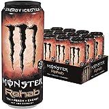 Monster Energy Rehab Peach mit Tee Extrakten & Pfirsich Geschmack - ohne Kohlensäure, 2in1 Energie Getränk & Eistee!, Energy Drink Palette, EINWEG Dose (12 x 500 ml)