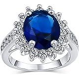 Bling Jewelry 5CT Royal Blue Oval Cubic Zirconia Simulato Zaffiro CZ Corona Halo Engagement per Donna Pave Band Argento Placc