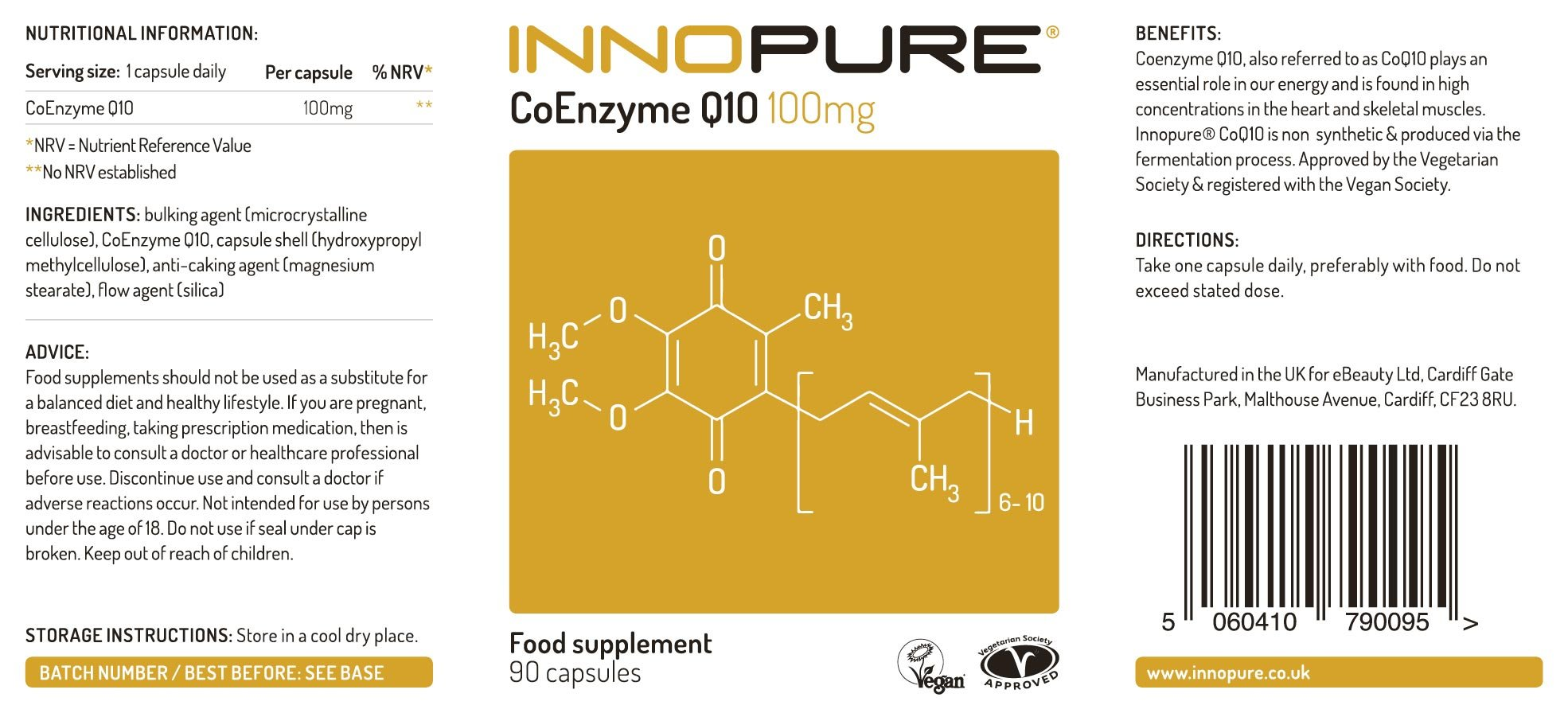 71WF7JNz45L - CoQ10 Pure Coenzyme Q10 100mg, Naturally Fermented, Vegan Society Approved, 90 Capsules, Made in The UK by Innopure