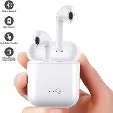 DIEWUOZ Auricolare wireless, cuffia Bluetooth, con microfono e chiamata a mani libere, con caricatore portatile, compatibile con iPhone X, 8, 8plus, 7, 7 + 6s, Samsung Galaxy, IOS, smartphone Android