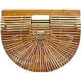 Miuco Damen Handtasche aus Bambus, handgefertigt, groß