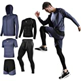 Lachi Mens Running Gym Set Compression Underwear Set Kit Shorts Fitness Base Layers Tights 3/5Pcs Set Sports Compression Cycl
