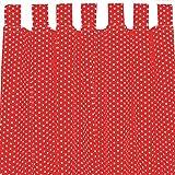 Sugarapple Dekoschal, Gardine, Vorhang (über 35 Farben wählbar) mit Schlaufen aus Baumwolle für Kinderzimmer und Babyzimmer. 2 Schals, Breite 143 cm, Länge 200 cm, rot mit weißen Sternen