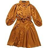Allegra K Women's Elegant Half Sleeve Solid Pleated Waist Belted Button Down Shirt Dress