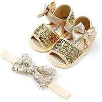 Neonata Scarpe e Fascia Battesimo Set Regalo 2 Pezzi, 0-18 Mesi Bimba Neonata Battesimo Festa Nuziale Scarpe Anti…