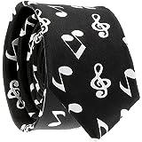 Cravate Note de Musique Noire et Blanche - Cravate Fantaisie Originale
