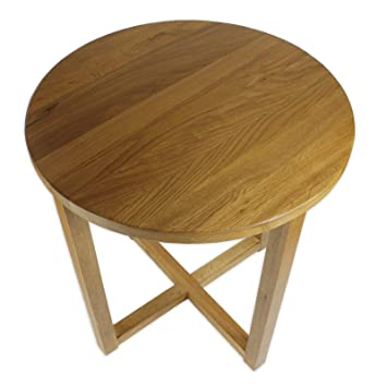 Yabbyou Tall Solid Oak Small Round Oak Coffee Table 45cm Wide (Rustic Oak):  Amazon.co.uk: Kitchen U0026 Home