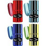 Beromt Mirror Nail Polish Combo Gift of 4, 11 ml Each | Metallic Chrome, Green, Pastel Blue, Red, Blue