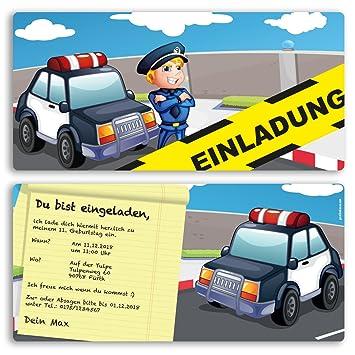 Einladungskarten Kindergeburtstag (10 Stück) Polizei Kinder Jungen Mädchen  Einladung Einschulung Schulanfang Party Feier Geburtstag Karte Gestalten    Inkl. ...