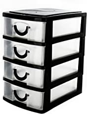 Almand Clearview Desktop Chest of Drawer Rack Stand Home Office Storage Organizer - 4 Drawers(Base Design May Varry)