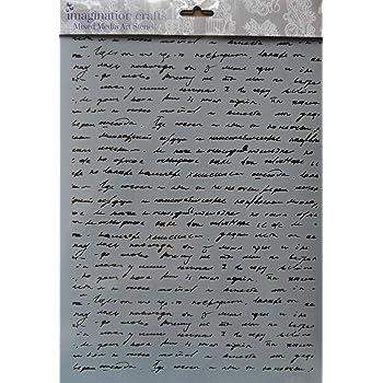Imagination Crafts MASK Art Stencil A4 210 x 295mm Delicate Script Background