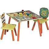 WOLTU 1 Table d'enfant + 2 chaises Ensemble de Meubles pour Enfants Motif Animaux Cartoons Animation pour Enfants d'âge présc