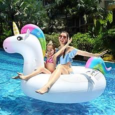 infinitoo Gonfiabile Gigante Unicorno Giochi Cavalcabile Unicorno Estate Materassino Gonfiabile Galleggiante per Nuoto in Piscina, Spiaggia e Mare per Bambini e Adulti PVC 210 Cm*110cm*115 cm