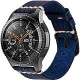 iBazal Correas Galaxy Watch 46mm Cuero 22mm Bandas Piel Pulsera Compatible con Samsung Gear S3 Frontier Classic Reemplazo par