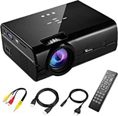 Beamer Projektor Full HD Vemico 2200 Lumens 1080P LED Heimkino Mini Videoprojektor 800 * 480 Auflösung HDMI Kabel Angebracht Keystone Korrektur Spielmaschine Anschließbare USB SD AV VGA