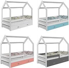 Bett Babybett Hausbett Kinderhaus Kinderbett in Hausform Holzbett Jugendbett mit Lattenrost mit Schublade mit Matratze verschiedene Farben zur Auswahl zur Selbstmontage 80x160 D3