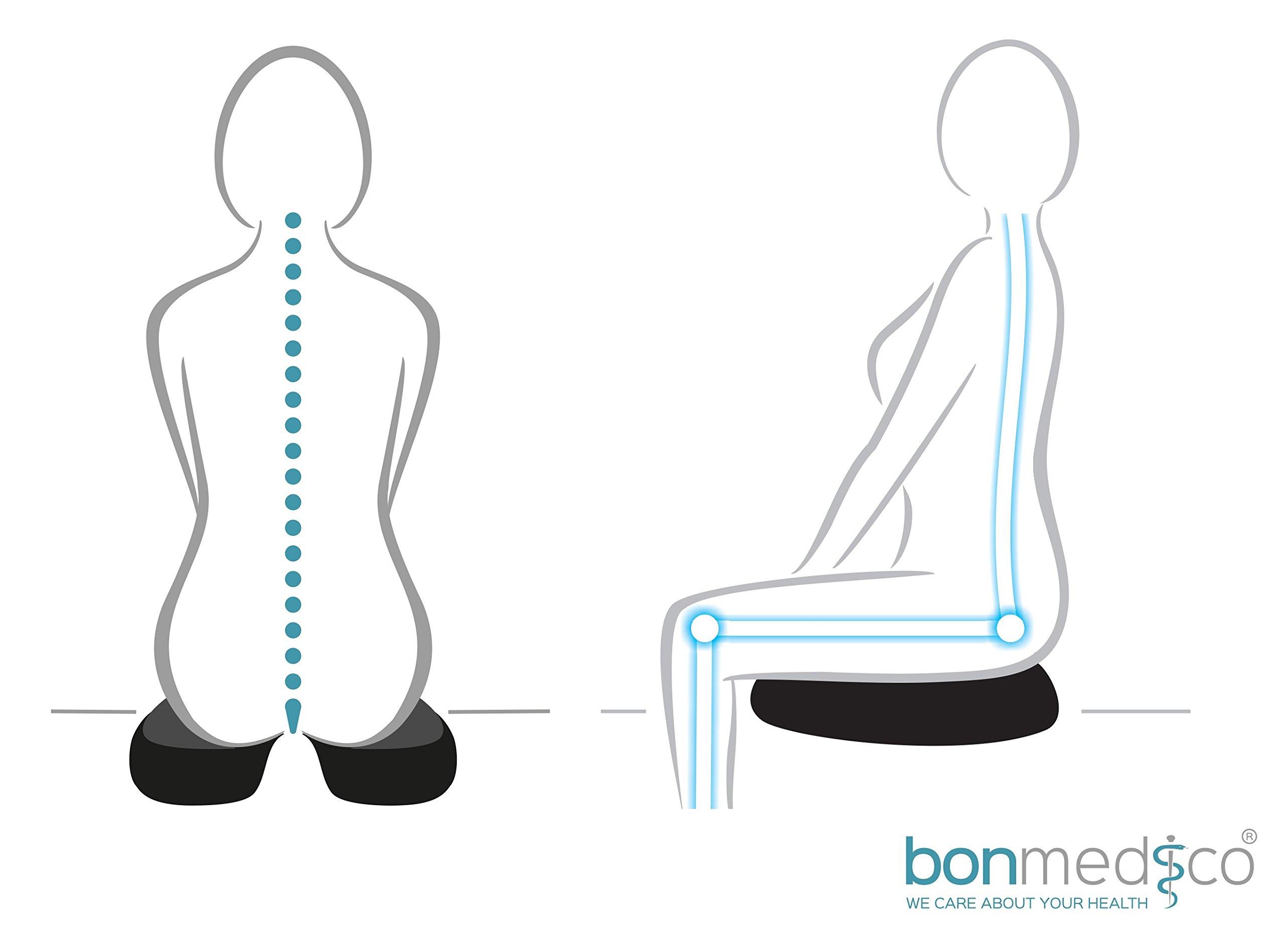 Cuscino Ortopedico Bonmedico Cuscino Antidecubito XL Colore: Blu Cuscino Ortopedico Cervicale in Gel E Memory Foam Perfetto Come Cuscino per Seduta in Viaggio E Cuscino per Sedia da Ufficio