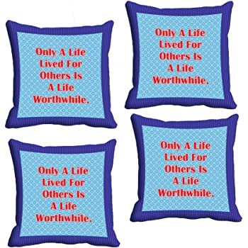 Indistar Micro Polyester Digital Printed Cushion Cover Combo (Pack of 4 Cushion Cover)(Size- 12X12 Inches)