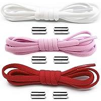 Gurxi 3 Stück Schleifenlose Schuhbänder Schnürsenkel mit Hochwertigem Lock Schnürsenkel-Set Elastische Schnellverschluss…