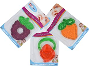 Baby Grow Soft Fruit Shape Silicone Baby Teether 3 Piece Set (D-2)