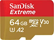 SanDisk 64GB Extreme microSDXC UHS-I Memory Card with Adapter - C10, U3, V30, 4K, A2, Micro SD - SDSQXA2-064G-GN6MA