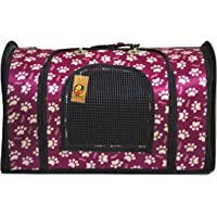 Foodie Puppies Fabric Crate Breathable Barrel Travel Carrier Kennel Bag for Dogs, Cats & Other Small Pets (Paw Pink, Size: 50cm * 30cm * 30cm)
