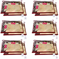 Kuber Industries Non Woven 12 Pieces Single Packing Saree Cover Set (Maroon)-KUBMART2822, standard