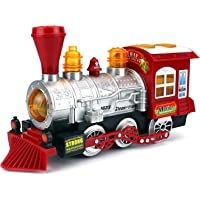 ZIGLY Steam Train Locomotive Engine Car Bubble Blowing Bump & Go Battery Operated Toy Train