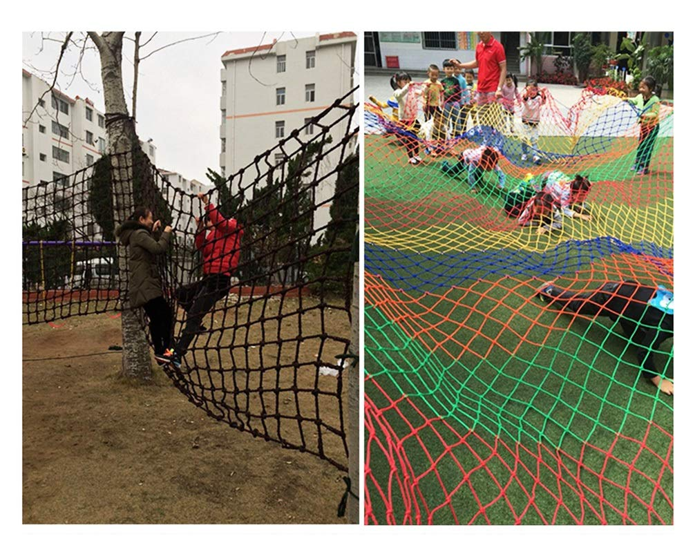 Children's Climbing Net, Color Rope Net, Fence Net, Pet Cat Stair Anti-fall Net, Garden Plant Protection Net, Wall Ceiling Amusement Park Decoration Net Size: 1×5M (Size : 3 * 7M)  ✪ Material: Polyester braided rope, hand-tightened, so that the mesh has greater tensile strength and strong impact resistance. Climbing Net. ✪ Three strands of rope: Woven with three strands of rope, precision wiring, workmanship, high temperature baking, dyeing, anti-corrosion, waterproof, sunscreen, anti-reinforced braided rope is not easy to break, durable. Climbing Net. ✪ Hand-woven: Lightweight child safety stair protection net, high-grade sturdy fabric, professional knotting, multi-strand weaving, make the rope more durable, has strong impact resistance, and protect children's safety. Climbing Net. 5