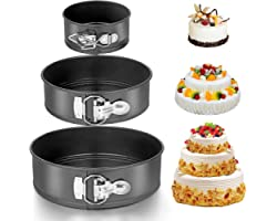 "Homeasy Cake Tin Set, 3 Pieces (4""/7""/10"") Cake Pan Springform Cake Tin Cheesecake Pan Set with Removable Bottom Nonstick and"