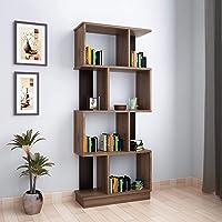 @home by Nilkamal Checkers Engineered Wood 4 Tier Bookshelf in Walnut finish