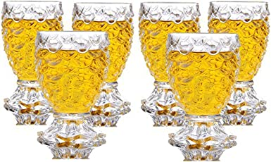 King International Stainless Steel 100% Crystal Clear Pineapple Shaped Whiskey Glasses | Drinking Glass | Set of 6 Pieces| 250 ml Each