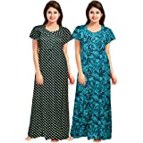 Women's Cotton Printed Ankle Length Nighty(Pack of 2)