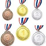 CKANDAY 6 stuks goud zilver brons winner award medaillen, metalen medaillen, prijzen met halsband voor wedstrijden party Olym
