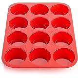 Ecoki Moule à Muffins pour 12 Muffins en Silicone - Certifié LFGB et sans BPA - Pour Muffins, Cupcakes, Brownies, Gâteaux, Pu