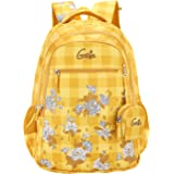 Genie Primrose 36 litres Yellow School Backpack for Girls (19 inch, 3 Compartments, Water Resistant)