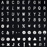 Cizen Pizarra de Letras - 640 Unidades de Plástico Blanco Letras Intercambiables + Números + Símbolos para Fieltro Letter Boa