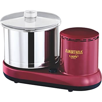 AMIRTHAA LION Table Top Wet Grinder - 2 Liter (Wine Red)