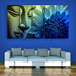 Inephos Multiple Frames Beautiful Buddha Wall Painting for Living Room, Bedroom, Office, Hotels, Drawing Room (150cm X 76cm)