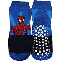 1 Paio Coppia Calzini Cotone Bambino Spiderman Riga Blu Rosso-Variante 1-23-26