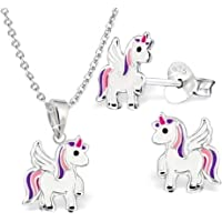 GH* KIDS, Mini unicorno per bambini, set ciondolo + collana + orecchini in argento Sterling 925, orecchini da ragazza…