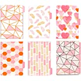 BLUGUL Gold Stamping A5 Intercalaire, 6 Trous, A5 Dividers, Pink Theme 10pcs