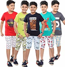 meril boys fullsleeve sleepwear with shorts