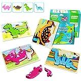 IMMEK Dinosaurios Puzzle de Madera Juguetes Bebes para Niños de 1 2 3 4 5 Años Montessori Educativos Regalos 3D Animales Patr