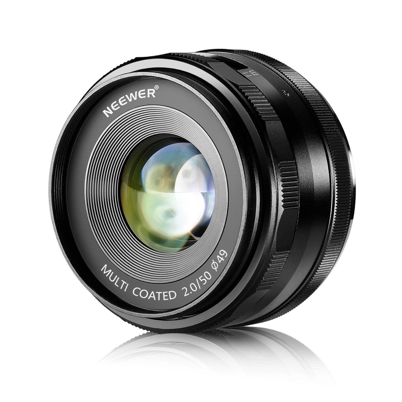 Neewer® 50mm f/2.0 Focus Manuale Obiettivo Fisso Primario per Fotocamere Digitali OLYMPUS & PANASON