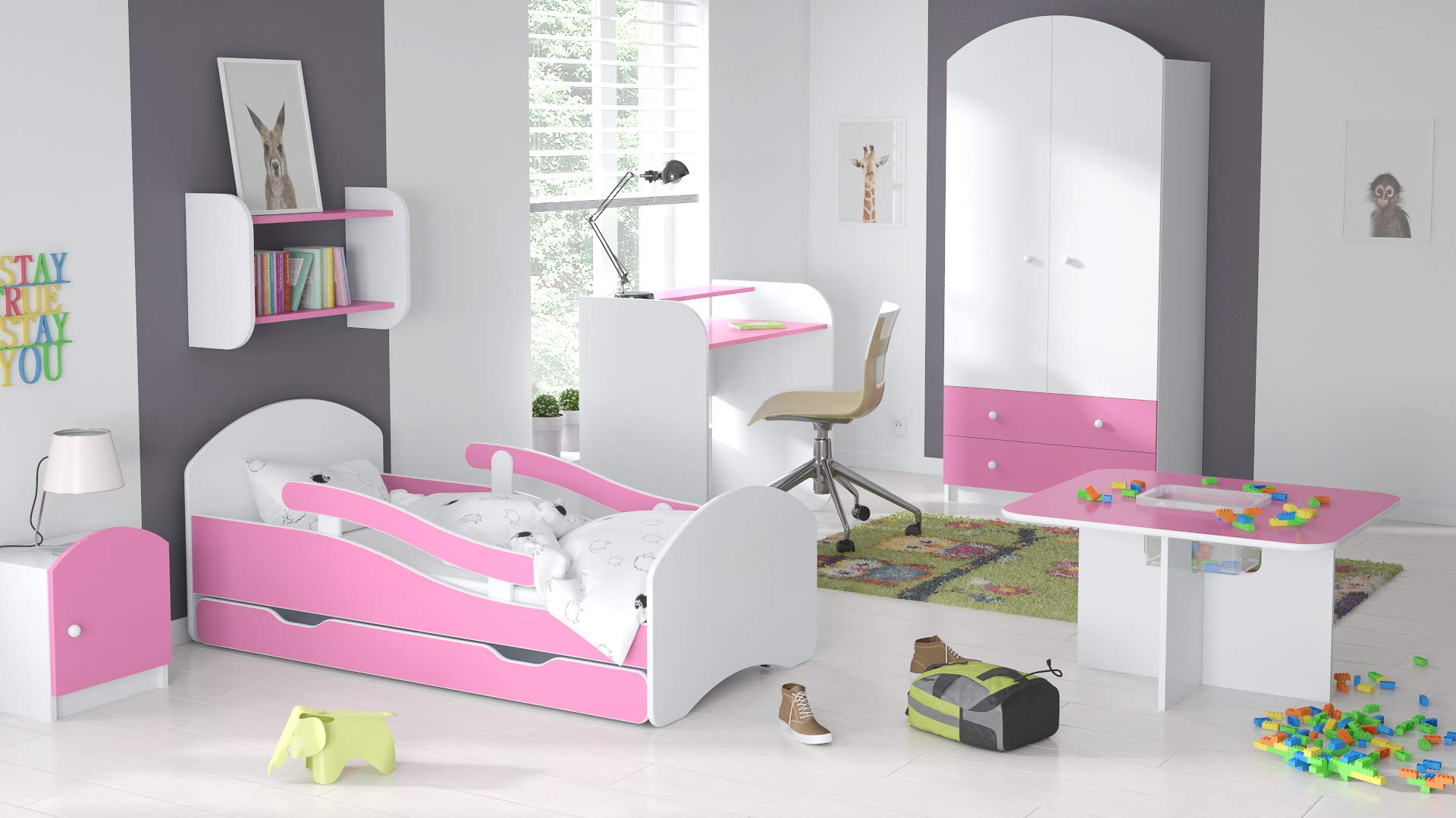 ChildrensBeds Home Single Bed Oscar For Kids Children Toddler Juniors With Drawers But No Mattress Included (White - Pink, 180x80) Children's Beds Home Bed with barriers - internal dimensions 140x70, 160x80, 180x80 (External dimensions: 145x76, 165x86, 185x86) Height to top of the bed frame at lowes point is 27 cm. Bed frame with load capacity of 100 kg, Fittings + installation instructions Universal bed entrance - right or left side, front barriers can be easily removed during the day and put back at night 2
