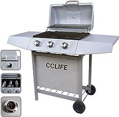 CCLIFE BBQ Barbecue griglia barbecue a gas con 3/4/5/6 bruciatori principali del color argento o nero